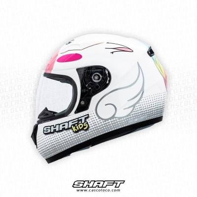 Casco Integral Certificado Para Niña Shaft 529 Kids Unicornio Fucsia Moto Proteccion Motero Cascoloco
