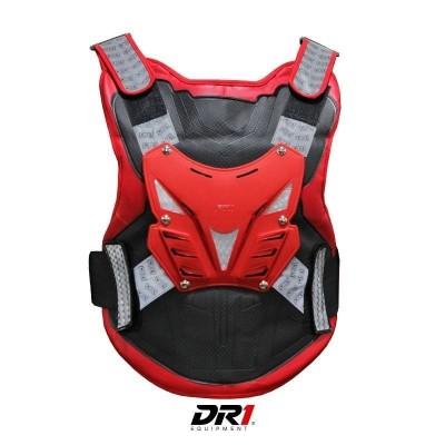 Pechera Refletiva Protector de Columna Moto Proteccion DR1 Shield Negro Rojo Unisex Cascoloco Distriramirez