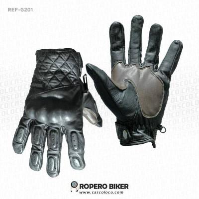 guantes de cuero ropero biker g-201 moto proteccion motero cascoloco distriramirez