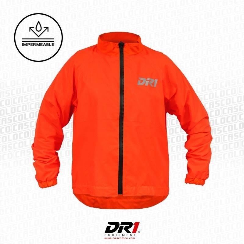 Chaqueta Reflectiva Impermeable DR1  Rain Naranja Moto Motociclista Luminosa Motero Cascoloco DFR