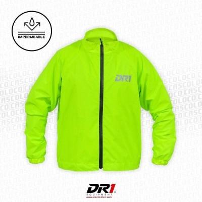 Chaqueta Reflectiva Impermeable DR1 Amarillo Neon Moto Motociclista Luminosa Motero Cascoloco DFR