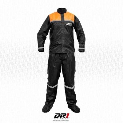 Traje DR1 Impermeable 4 piezas Negro Naranja Moto Ciclismo DR1 034 Motociclista Cascoloco DFR