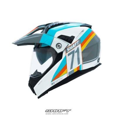 Casco Multiproposito Certificado Shaft MX 380 Pole Blanco Moto proteccion hombre motociclista cascoloco distriramirez
